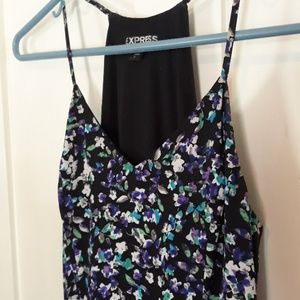 Purple blue green floral summery mini dress